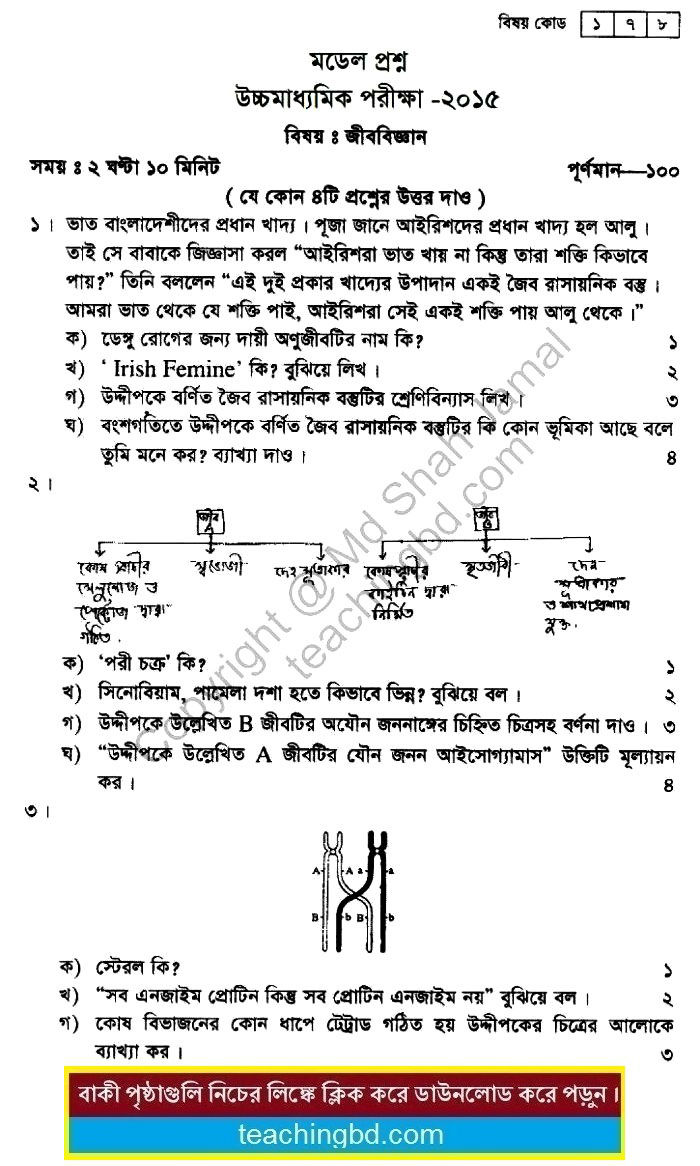 Biology Suggestion and Question Patterns of HSC Examination 2015